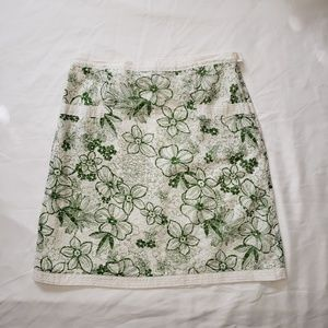 Max Studio Green & White Floral Skirt